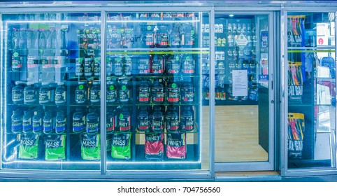 KHONKAEN - THAILAND - August 28, 2017: Workout supplement, sport nutrition, bodybuilding supplements, sport diet power, whey, and soy and egg protein, chemistry on display on shelves in a Pharmacy