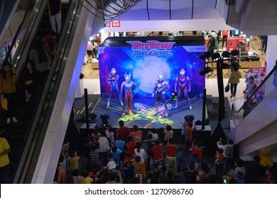 Khonkaen, Thailand - December 29, 2018: The popular fictional characters from Japan Ultraman meet fan club at CentralPlaza department store, KhonKaen Thailand