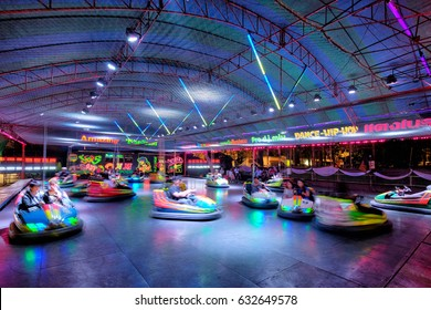 KHONKAEN THAILAND - JAN 27 2017: People with bumper cars at Mai Festival on Jan 27, 2017 in Khonkaen, Thailand