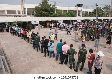 Khonkaen, Thailand - March 17, 2019: Thai people stand in row for Pre-election at KhonKaen Sport Stadium, After the military dictatorship seized power for 5 years