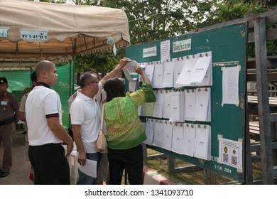 Khonkaen, Thailand - March 17, 2019: People inspect candidate lists before Pre-election at KhonKaen Sport Stadium, After the military dictatorship seized power for 5 years