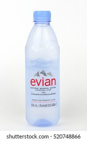 KHONKAEN - THAILAND - November, 22, 2016:Evian Natural Mineral Water. Evian is a brand of mineral water made in France on the south shore of Lake Geneva owned by multinational corporation Danone