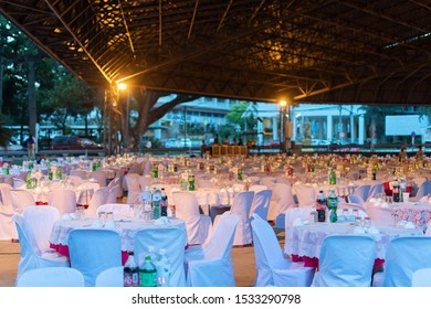 KhonKaen, Thailand - October 3 2019 : The atmosphere of the banquet with Chinese banquet.