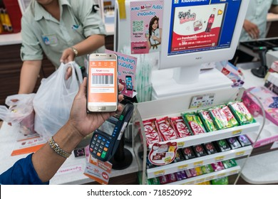 KHONKAEN - THAILAND - September 20,2017: illustrative editorial, 7 App 7-Eleven, for TrueMoney Wallet. payment Cashless society concept. of C.P. ALL PUBLIC COMPANY LIMITED, Counter Service in Thailand