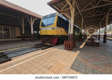 KHONKAEN,TH -FEBRUARY 22 : Train parked on the tracks at the train station. 22,2017 in Khonkaen,TH