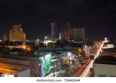 KHONKAEN,TH -September 3 : Evening in the city. on September 3,2017 in Khonkaen,TH
