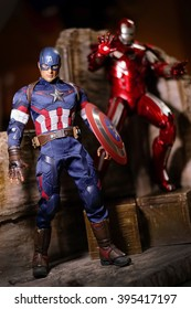 Khonkaen,Thailand - Jan 17th 2016: Caption America and Irons MARK XXXIII man figure 1/6 standing gracefully. Caption America and Iron Man is a popular line of construction toys manufactured
