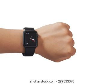 KHONKAEN,THAILAND,JULY 20,2015: Close up the Apple Watch Sport on  wrist on JULY 20,2015,KHONKAEN in THAILAND