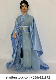 KHONKAEN,THAILAND,March,2020, A man doll wearing an ancient blue Chinese costume at a doll show in the shop.