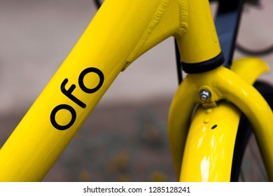 KhonKaen,Thailand-September 1 2018 : OFO is brand bicycle from china on the morning.