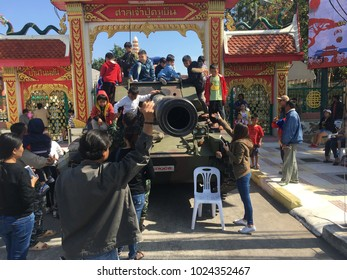 Khonkean, Thailand, January 13,2018: Every year at Children's Day, soldiers bring their tanks, airplanes and accessories to the children. To learn and improve the situation of children.
