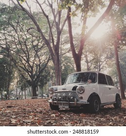 Khonkean ,THAILAND - January 20, 2015: Mini cooper in vintage tone