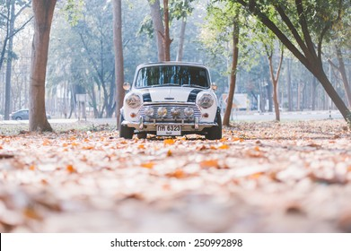 Khonkean ,THAILAND - January 20, 2015 : Mini Austin Cooper S in vintage tone film effect