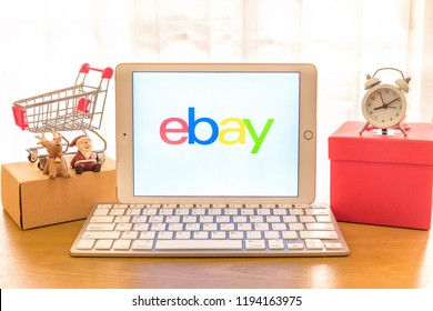 Khonkean, Thailand - September 18 2018, iPad Air2 showing ebay website shopping online. ebay.com, Inc. international electronic commerce company. smartphone business daily information.