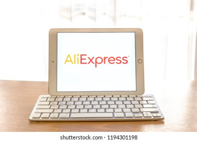 Khonkean, Thailand - September 18 2018, iPad Air2 showing AliExpress  website shopping online. AliExpress.com, Inc. international electronic commerce company. smartphone business daily information.