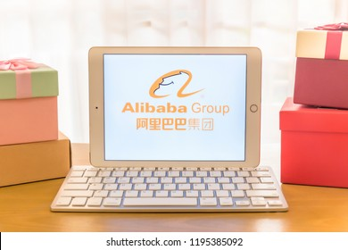 Khonkean, Thailand - September 18 2018, iPad Air2 showing Alibaba Group  website shopping online. AliExpress.com, Inc. international electronic commerce company. smartphone business daily information.