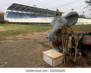 Khonkean/Thailand - February 3,2018 : Elephant mascot representing the symbol of Thailand. Used as a mark in the 1998 SEA Games, now housed in disrepair and turned into a cleaning kit.