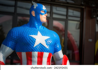 KHONKEAN,THAILAND - JANUARY 06, 2015 : A Captain America model at coffee shop in public park