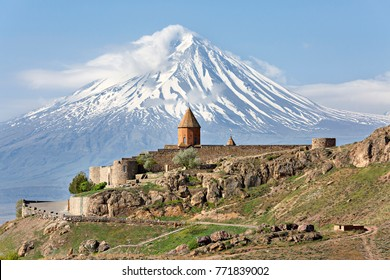 Khor Virap church with Ararat Mountain in the background, Armenia.