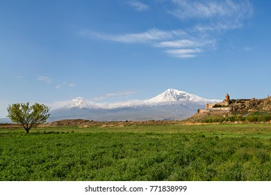 Khor Virap church with the two peaks of the Ararat Mountain in the background, Armenia.