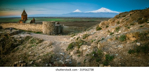 Khor virap monastery in front of Ararat mountain at sunrise, Autumn, Armenia