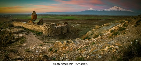 Khor Virap Monastery panorama at sunrise in front of Ararat Mountain, Armenia