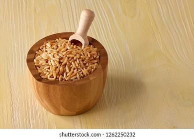 khorasan grain on rustic table