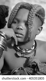 KHORIXAS, NAMIBIA- OCTOBER 09, 2014: Unidentified child Himba tribe. The Himba are indigenous peoples living in northern Namibia, in the Kunene region of South-West Africa on october 09 2014