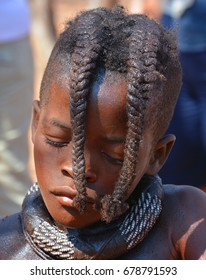 KHORIXAS, NAMIBIA OCTOBER 09, 2014: Unidentified child Himba tribe. The Himba are indigenous peoples living in northern Namibia, in the Kunene region of South-West Africa on october 09 2014