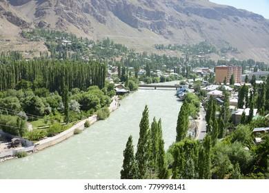 Khorog village in the beautiful Pamir Mountain Range, Tajikistan