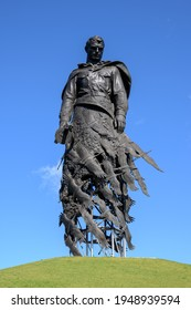 Khoroshevo, Rzhev district, Tver region, Russian Federation -  September 19, 2020: Statue of a soviet soldier at Rzhev Memorial to the Soviet Soldier