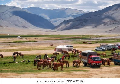 KHOVD, MONGOLIA - JULY 06, 2017:  Mongolian nomad camp. Guests came to the national holiday and national wrestling competitions.