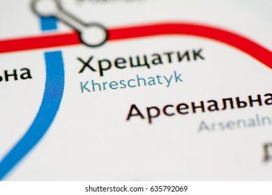 Khreschatyk Station. Kiev Metro map.