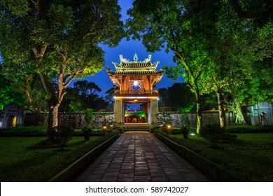 "Khue Van Cac ( Stelae of Doctors ) in Temple of Literature ( Van Mieu ) at night. The temple hosts the ""Imperial Academy"", Vietnam's first national university, was built in 1070"