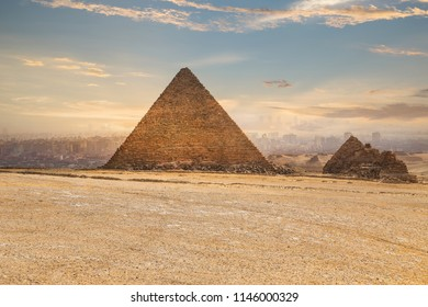 Khufu pyramid and road, Cairo, Egypt