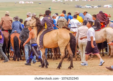 Khui Doloon Khudag, Mongolia - July 12, 2010: Spectators at Nadaam horse race near Ulaanbaatar. Nadaam is Mongolia's most important festival whose roots lie in Mongolian warrior traditions.