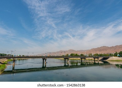 Khujand Syr Darya River Picturesque Breathtaking View from a Bridge on a Sunny Blue Sky Day - Shutterstock ID 1542863138