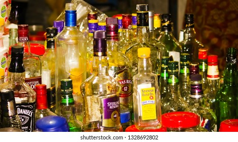 Khulna,Bangladesh-January 1,2019:Various empty bottles are shown in a shop.