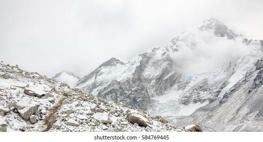 Khumbu glacier near Gorak Shep after a snowfall - Everest region, Nepal