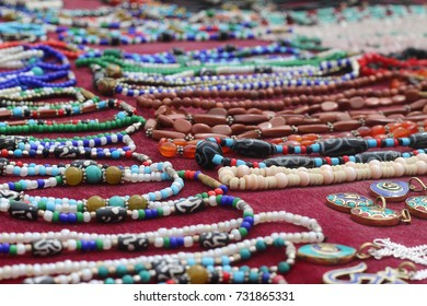 KHUMBU HIMAL, NEPAL - SEPT 20, 2017: Himalayan Jewelry along the trail to everest base camp for sell to all trekkers and tourist passing by