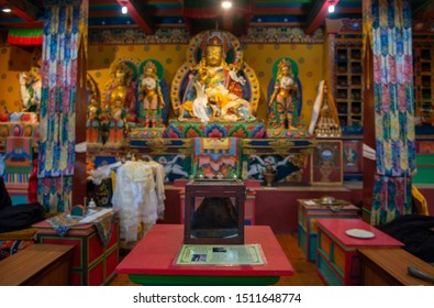 """Khumjung, Nepal : 01-October-2018 : The Yeti Scalp containing in glass-fronted box in Khumjung monastery. The relic have come from one of the """"abominable snowmen"""" of Himalayan legend."""