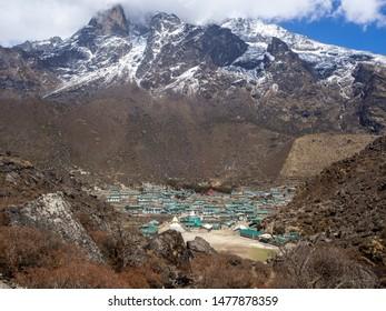 Khumjung, Nepal - circa April 2019: Sherpa village of Khumjung near Namche Bazaar