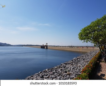 Khun Dan Prakan Chon dam in Nakonnarok province Thailand, largest and longest roller compacted concrete dam in the world, thai text on dam is meaning name of dam