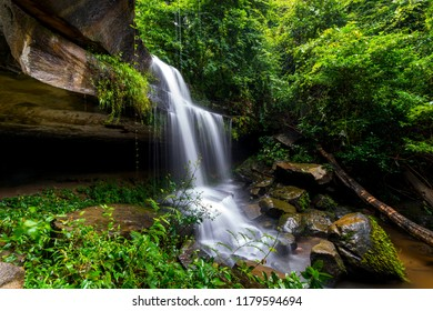 Khun Sri waterfall in tropical forest Thailand leaf moving low speed shutter blur.Unseen in Sisaket province,Thailand.