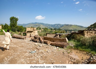 Khyber Agency, PAKISTAN - AUG 09: 100% home Destroyed during Taliban strike in Tirah Khyber Agency, on 09 AUG, 2015 Khyber Agency.