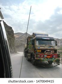 Khyber Pass / Pakistan - Aug 16 2005: A truck climbing the Khyber Pass in Pakistan. The Khyber Pass is from Peshawar, Pakistan to Landi Kotal and Torkham in Afghanistan. Truck on the Khyber Pass.
