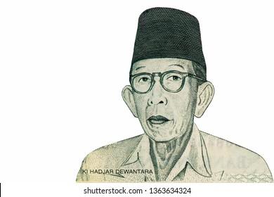 Ki Hajar Dewantara portrait on 20000 Rupiahs Indonesia  Banknote, Rupiahs Indonesia Currency of Indonesia money.  Close Up UNC Uncirculated - Collection.