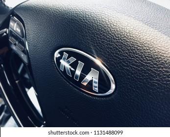 Kia Logo on car steering. Kia Motor Corporation (Kia automobile) headquartered in Seoul, is South Korea's second-largest automobile manufacturer.
