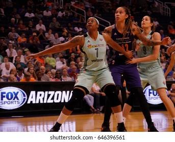 Kia Vaughn center for the New York Liberty at Talking Stick Resort Arena in Phoenix,AZ USA May 23,2017.