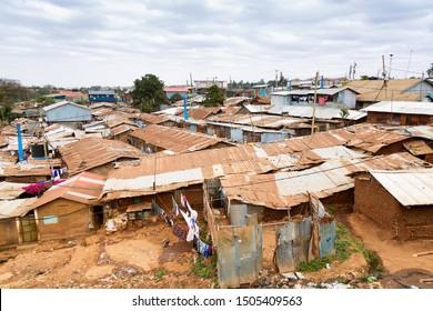 Kibera is the biggest slum in Africa. Slums in Nairobi, Kenya.